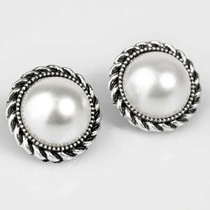 Atlantic City White Pearl Post Earrings